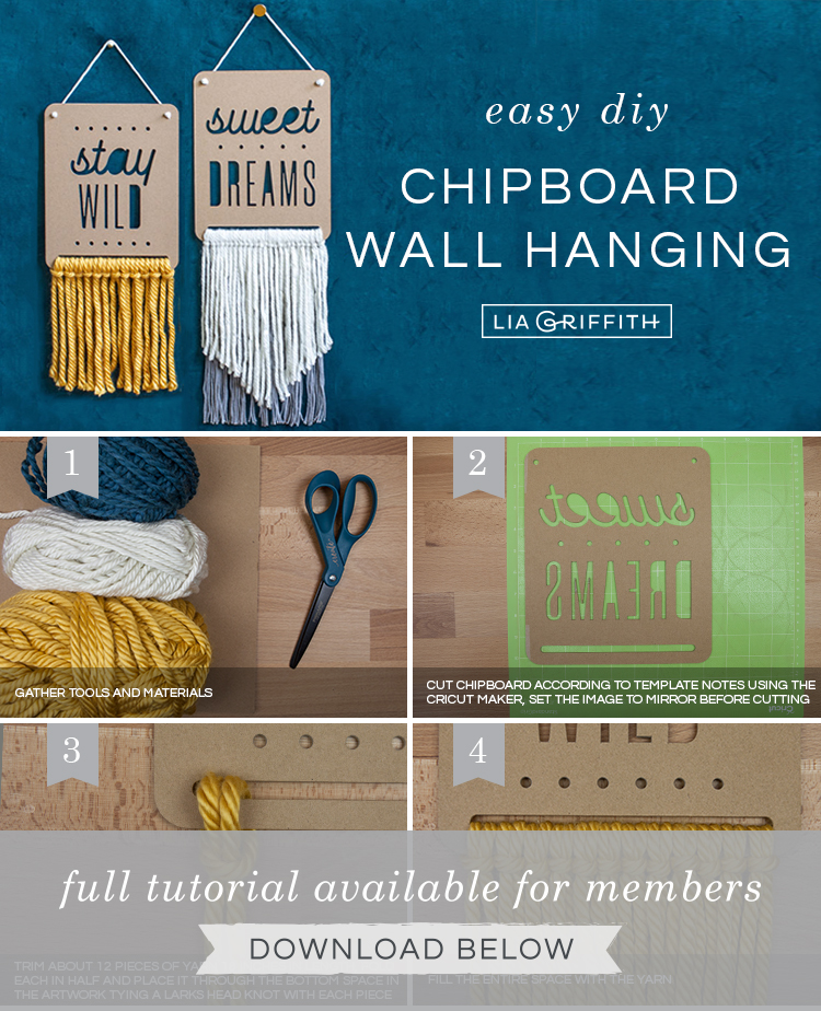 Photo tutorial for chipboard and yarn wall hangings by Lia Griffith