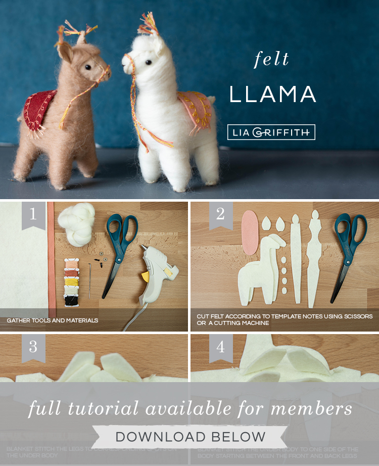 photo tutorial for needle-felted llamas by Lia Griffith