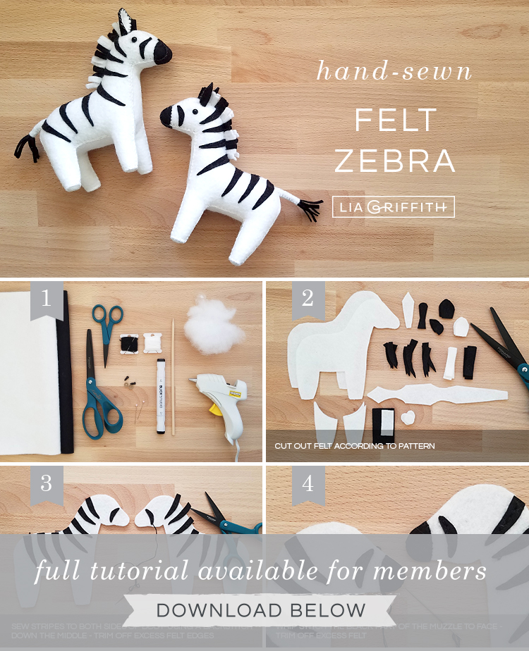 felt zebra stuffie photo tutorial by Lia Griffith