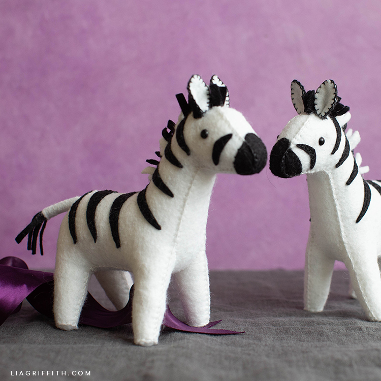 felt zebra stuffie friends