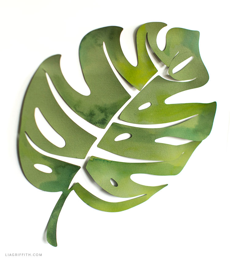 painted monstera leaf