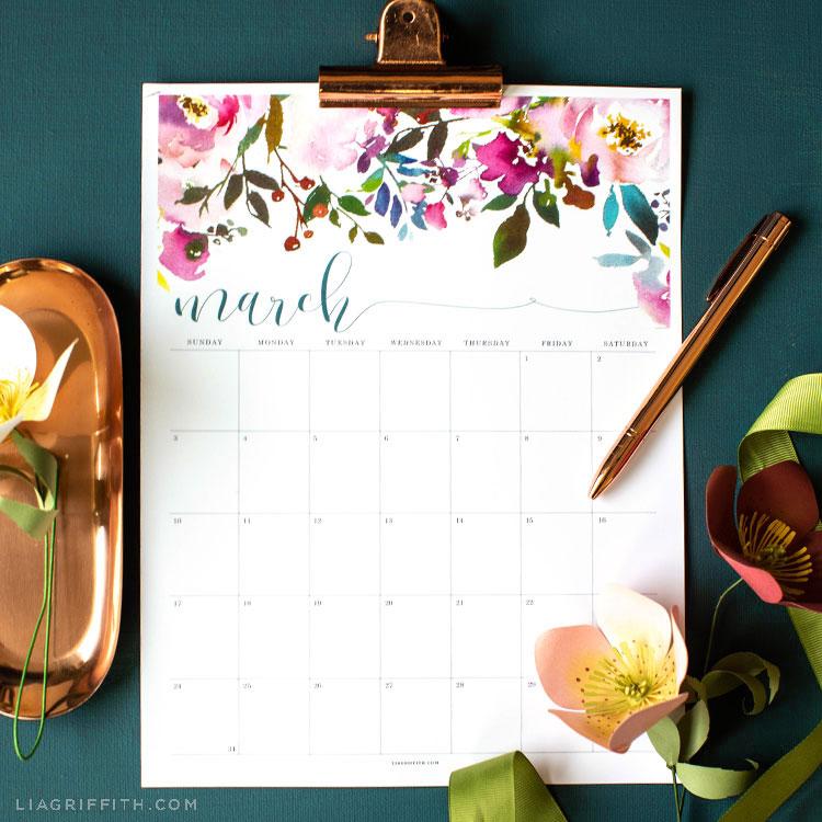 Free March 2019 Printable Calendar Lia Griffith