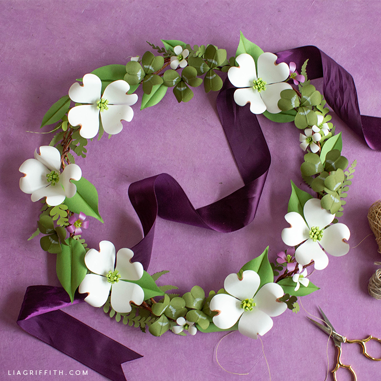 Paper Shamrock And Dogwood Wreath Lia Griffith