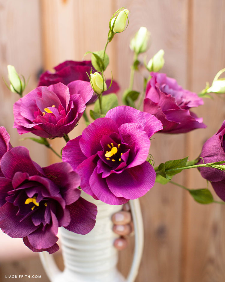 crepe paper lisianthus flowers outside