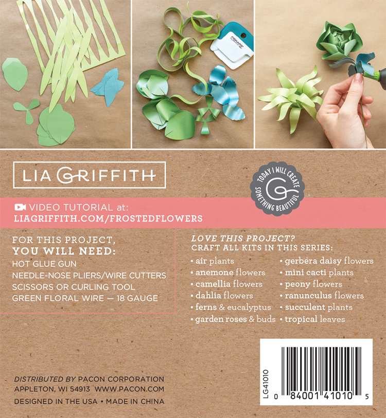 Lia Griffith Succulents Frosted Paper Flower Kit