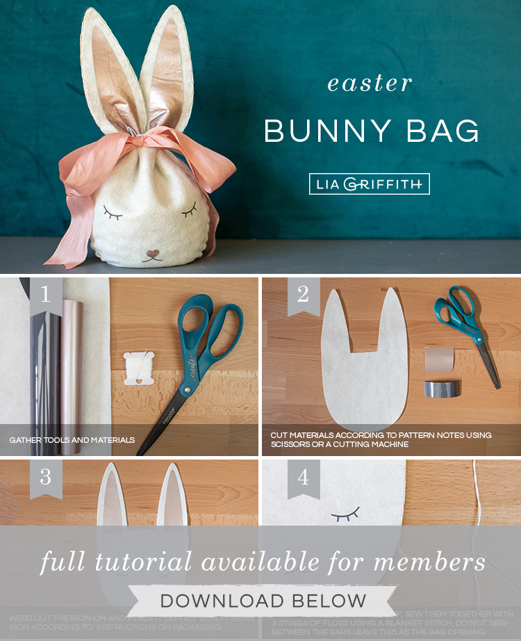 DIY photo tutorial for felt Easter bunny treat bag by Lia Griffith