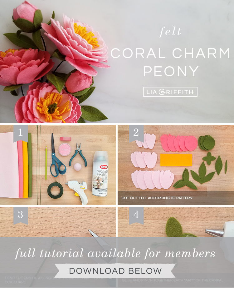 DIY photo tutorial for felt coral charm peony by Lia Griffith