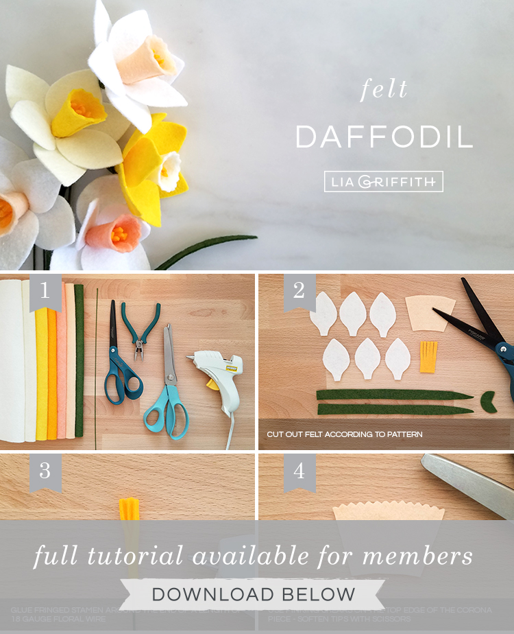 DIY photo tutorial for felt daffodils by Lia Griffith
