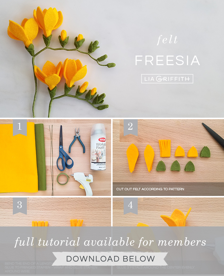 DIY photo tutorial for felt freesia flowers by Lia Griffith