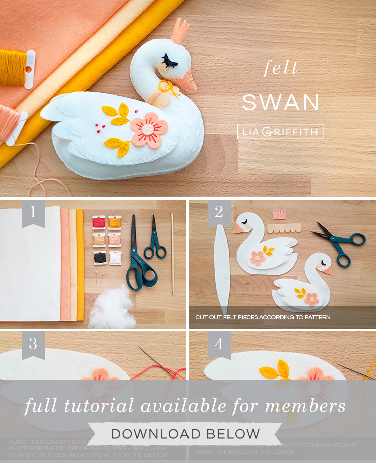DIY photo tutorial for felt swan stuffie by Lia Griffith