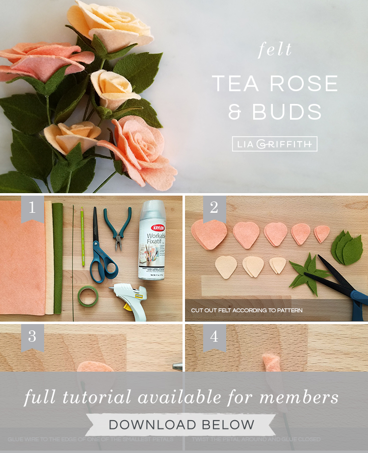 DIY photo tutorial for felt tea roses and buds by Lia Griffith