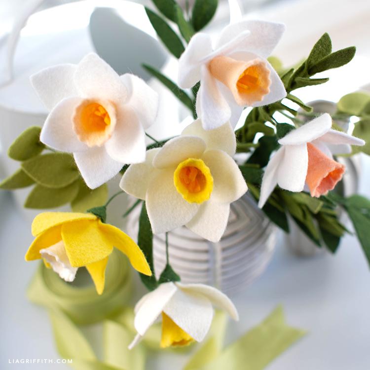 felt daffodils in white vase