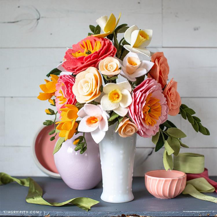 felt flower bouquet in vase
