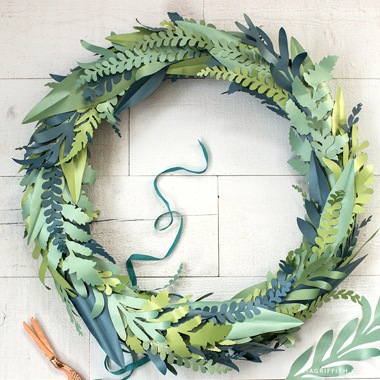 frosted paper fern and eucalyptus wreath