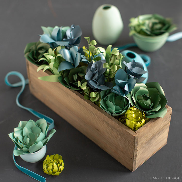 frosted paper succulents in wood box