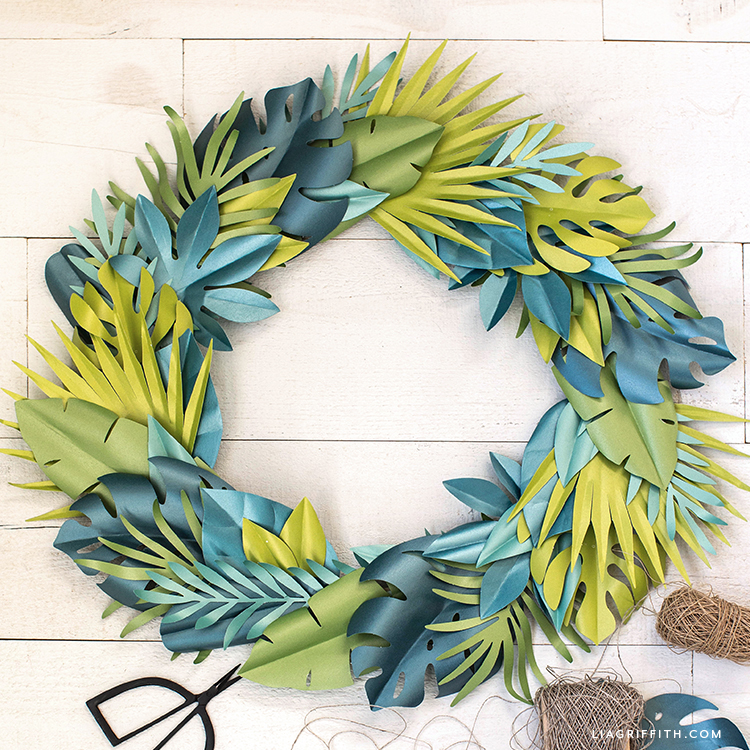frosted paper tropical leaf wreath