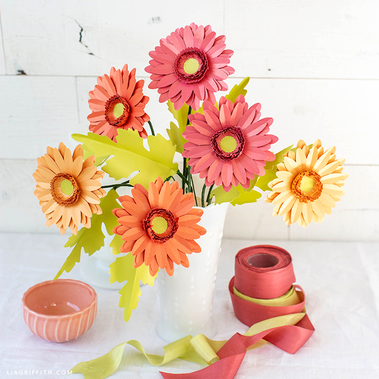 Video Tutorial New Gerbera Daisy Frosted Paper Flower Kit Lia Griffith