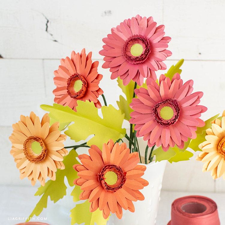 frosted paper gerbera daisies