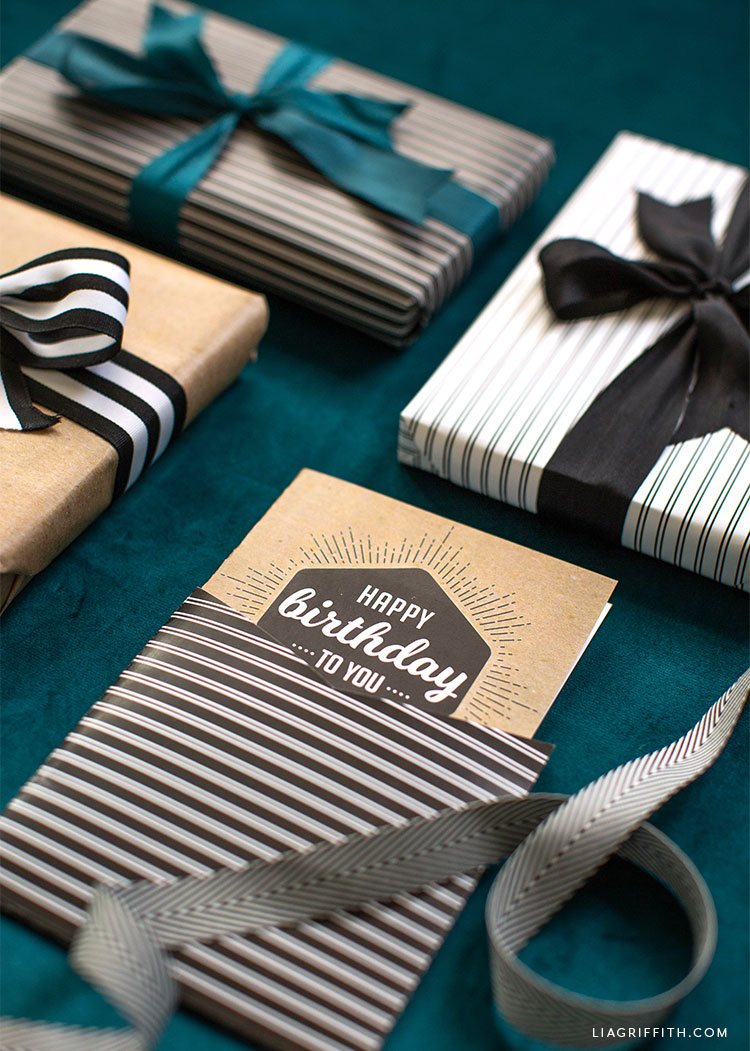 Kraft happy birthday card and gift wrap with striped sleeve and striped gift wrap