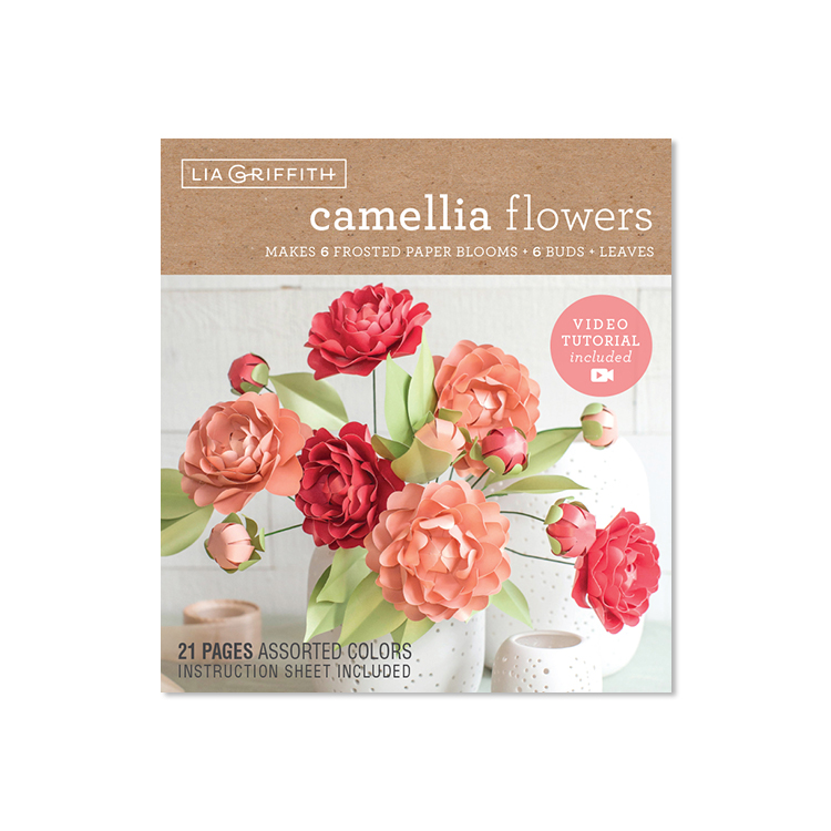 frosted paper camellia flower kit by Lia Griffith