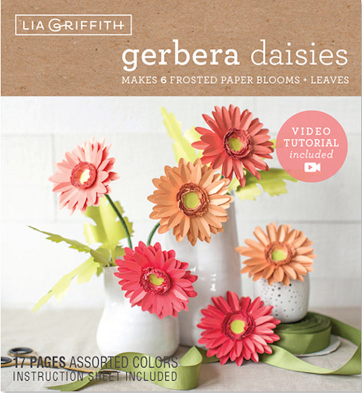 gerbera daisy frosted paper flower kit by Lia Griffith