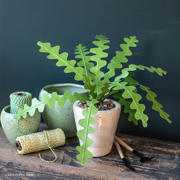 paper zig-zag cactus in white pot
