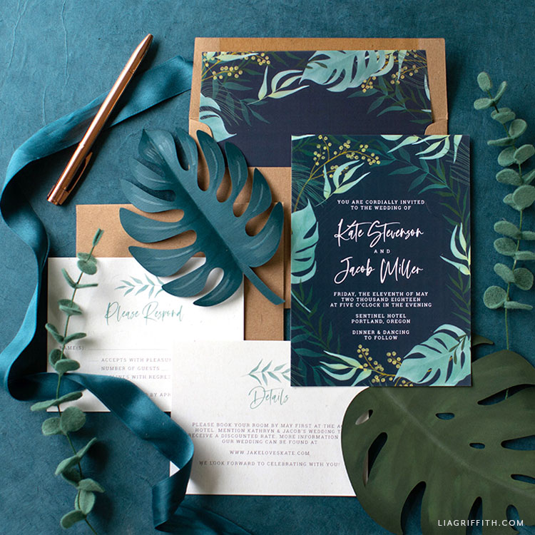 Navy Tropical Wedding Invitation Suite Lia Griffith