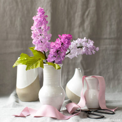 crepe paper lilac flowers in vases