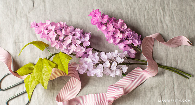crepe paper lilac flowers with ribbon