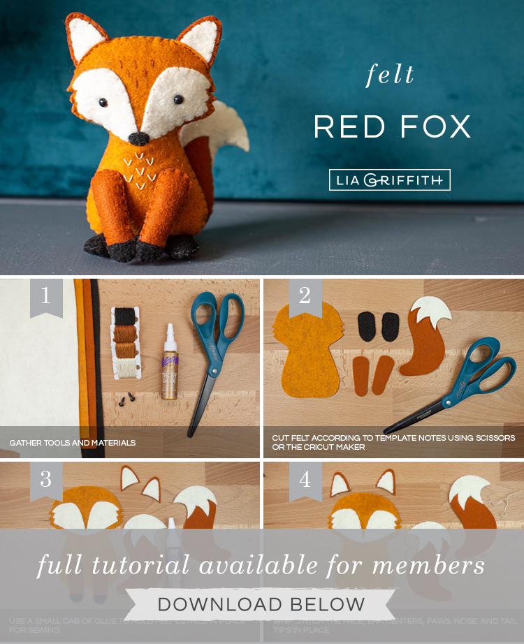 DIY photo tutorial for felt red fox stuffie by Lia Griffith