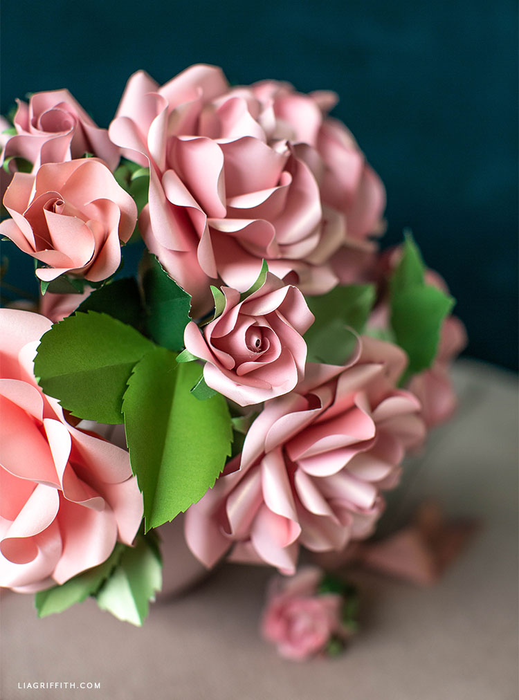 frosted paper pink garden roses, buds, and leaves
