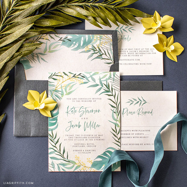 Tropical Wedding Invitations With Rsvp Cards Lia Griffith