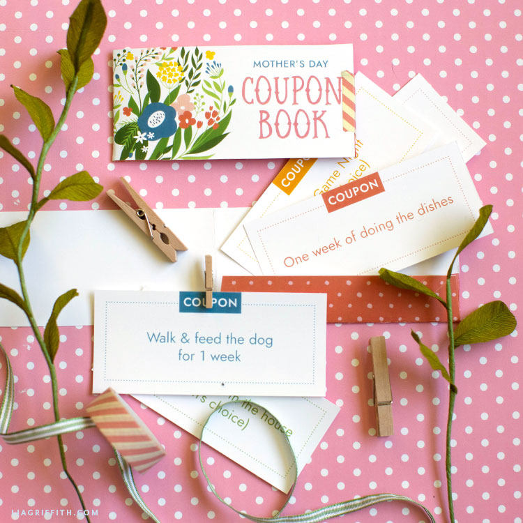 printable coupon book for Mother's Day with DIY coupons