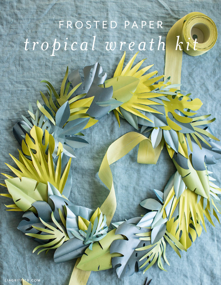 frosted paper tropical leaves kit