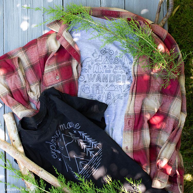 camping graphic tees with plaid shirt