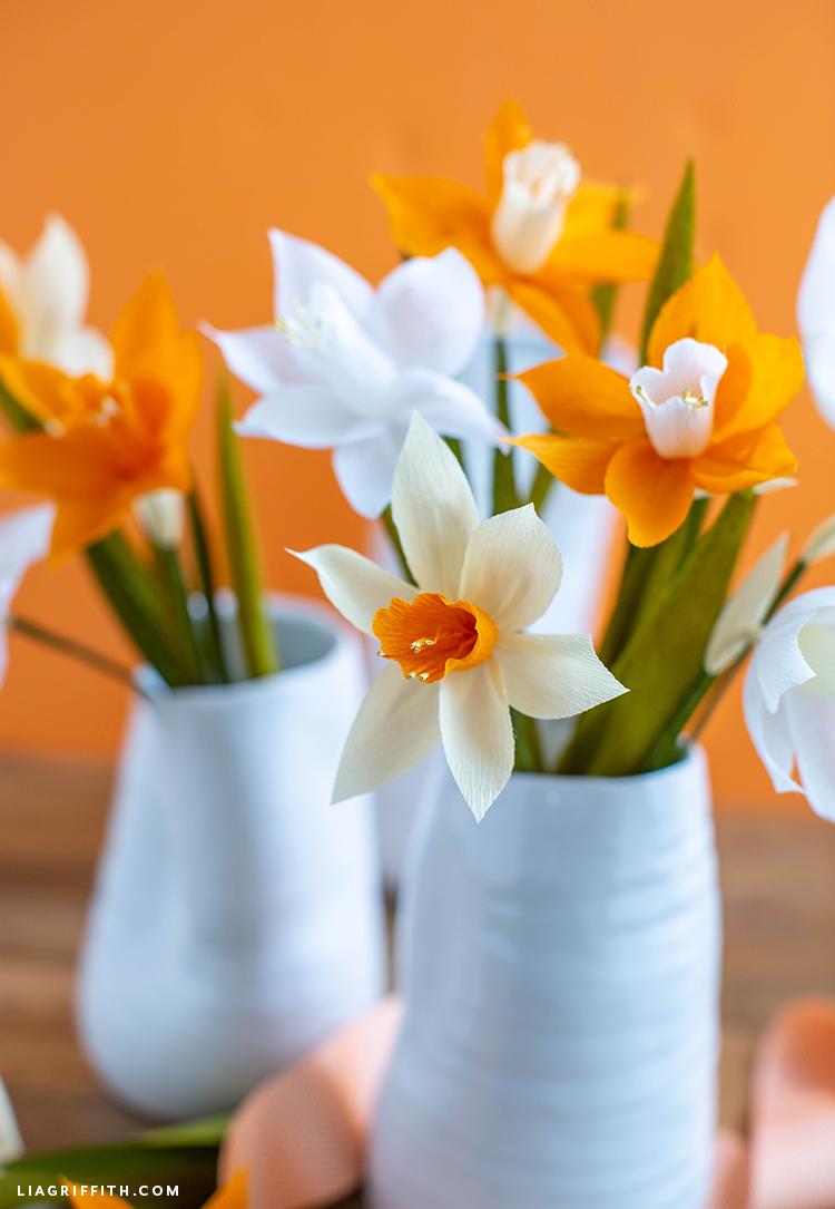 handmade crepe paper daffodil arrangements