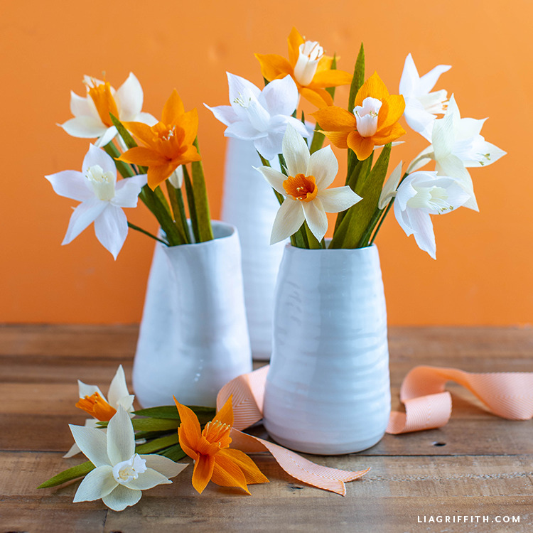 crepe paper daffodil bouquets