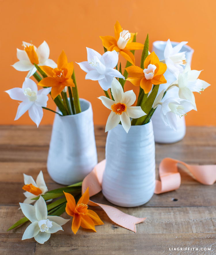 pretty spring daffodils made out of crepe paper