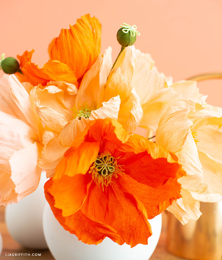 crepe paper poppies with gorgeous texture