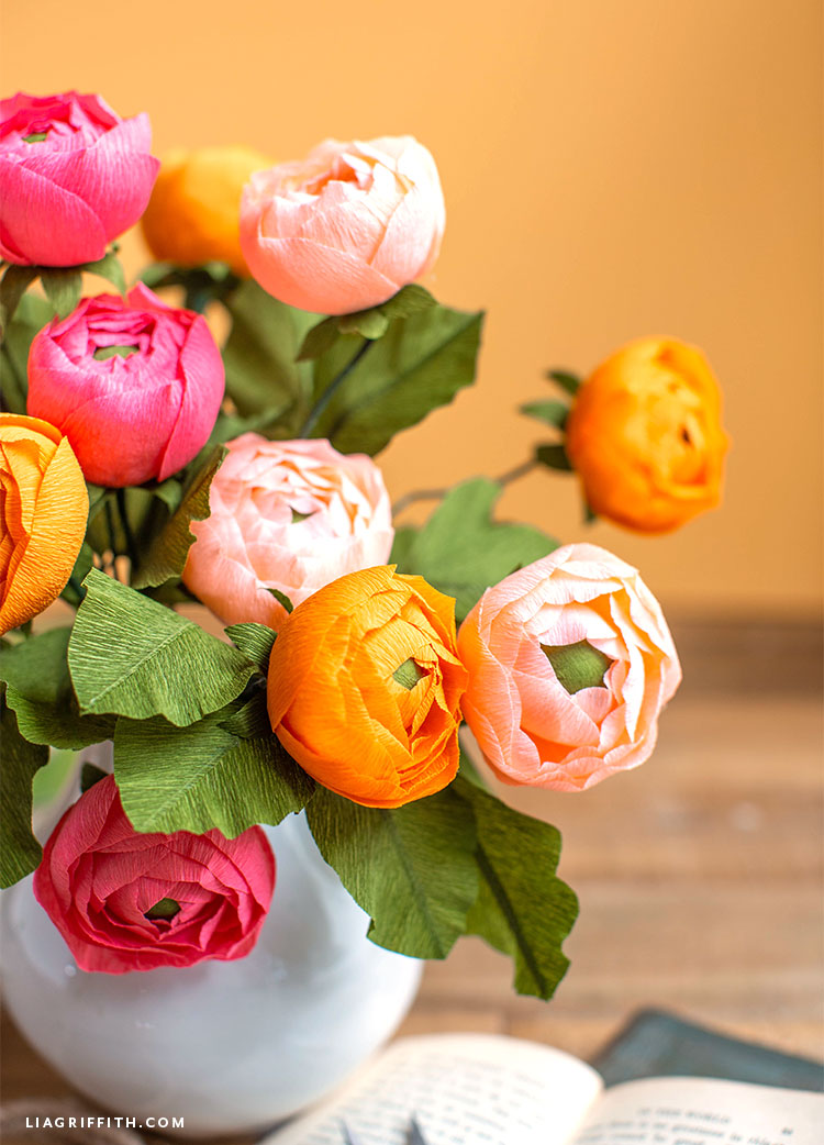 handmade crepe paper ranunculus flowers
