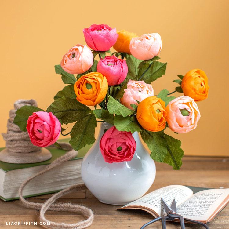 a gorgeous arrangement of crepe paper ranunculus flowers