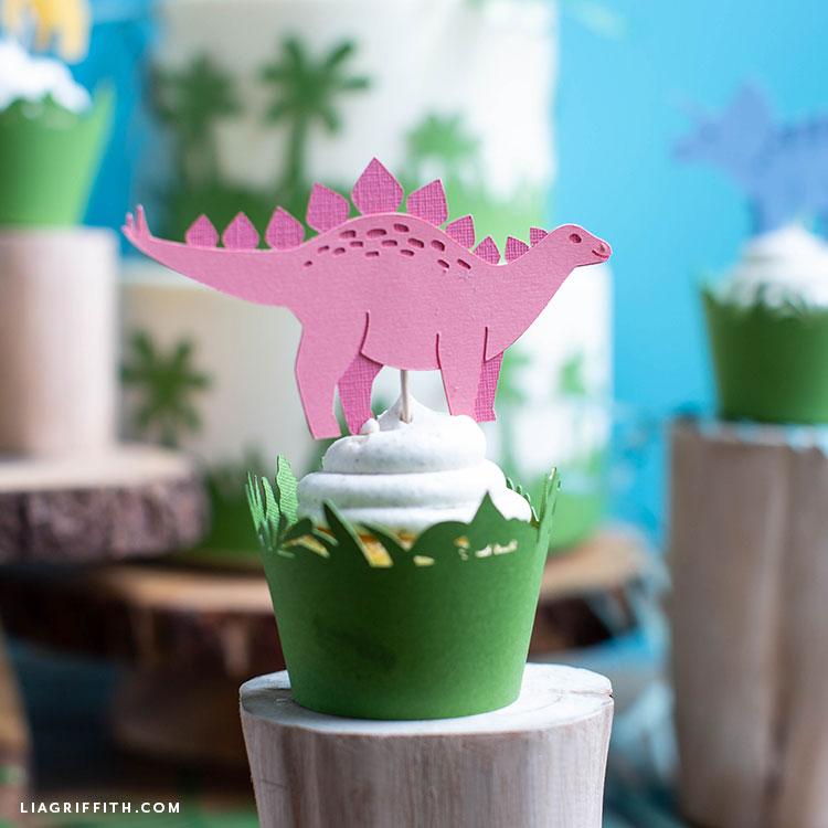 pink dinosaur cupcake topper