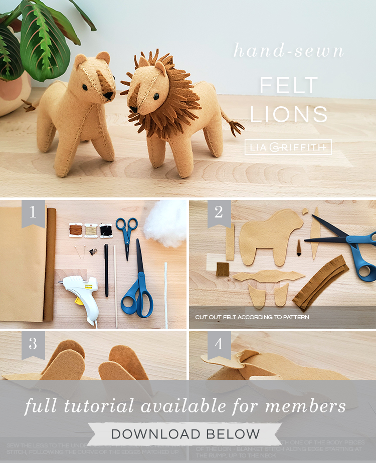 DIY step by step photo tutorial for hand-sewn felt lion and lioness
