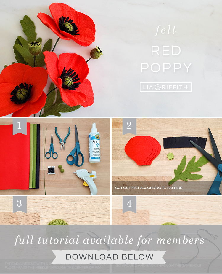 DIY step by step photo tutorial for felt red poppies by Lia Griffith