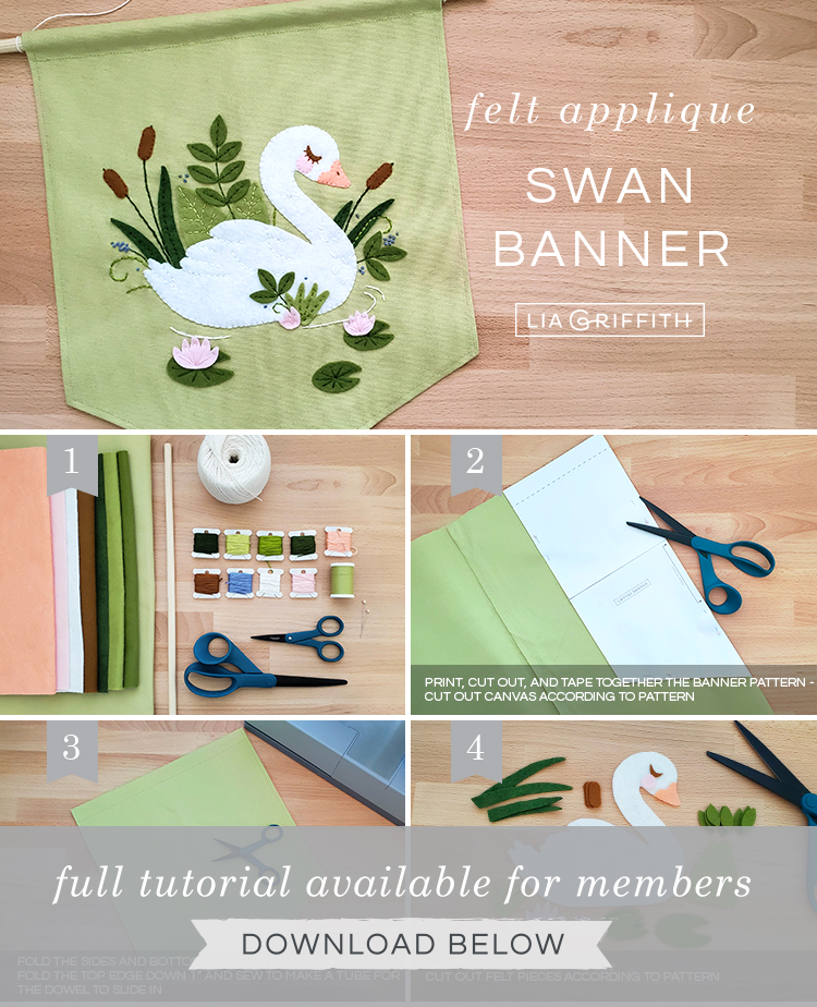 DIY step by step photo tutorial for felt applique swan banner by Lia Griffith