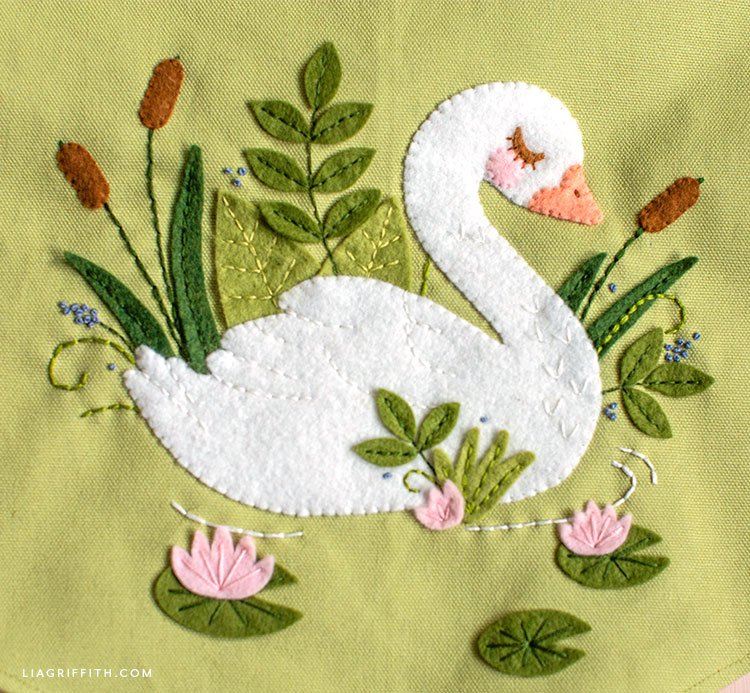 felt applique swan