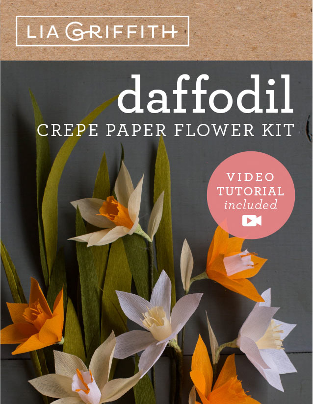 crepe paper daffodil flower kit by Lia Griffith