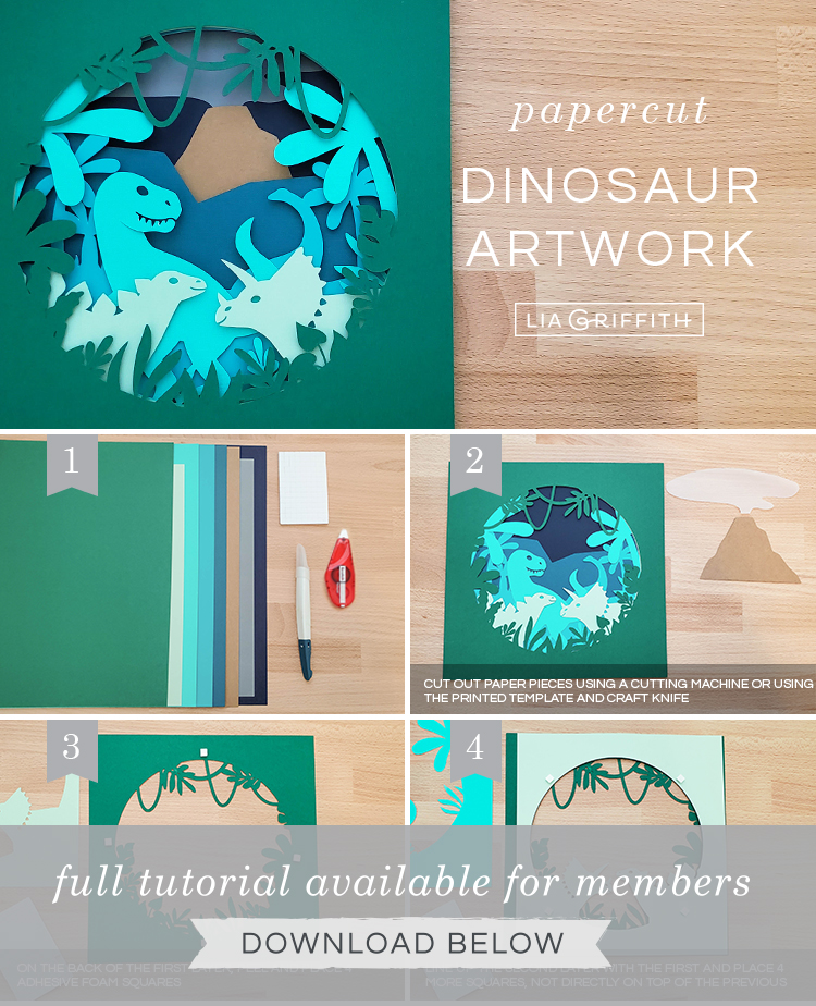DIY step by step photo tutorial for papercut dinosaur artwork