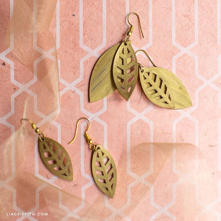gold shrink film leaf earrings