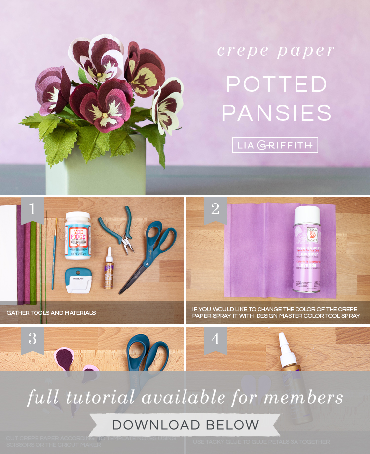 DIY step by step photo tutorial for crepe paper pansies by Lia Griffith
